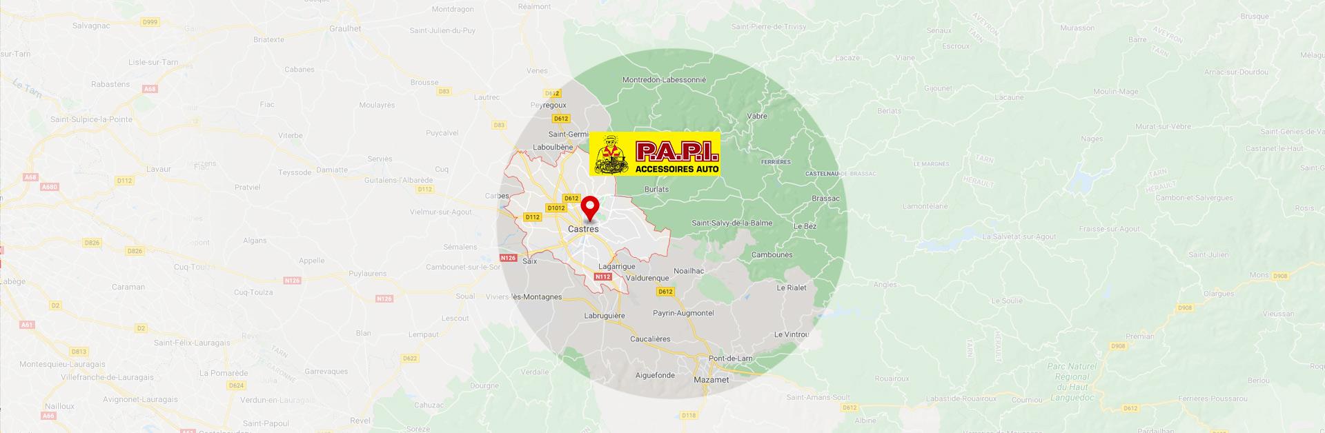 nos produits et pièces détachées dans un rayon de 25 km autour de Castres | Papi Accessoires Auto